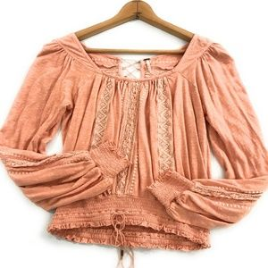 Free People Peach Boho Peasant Top, Size Small S